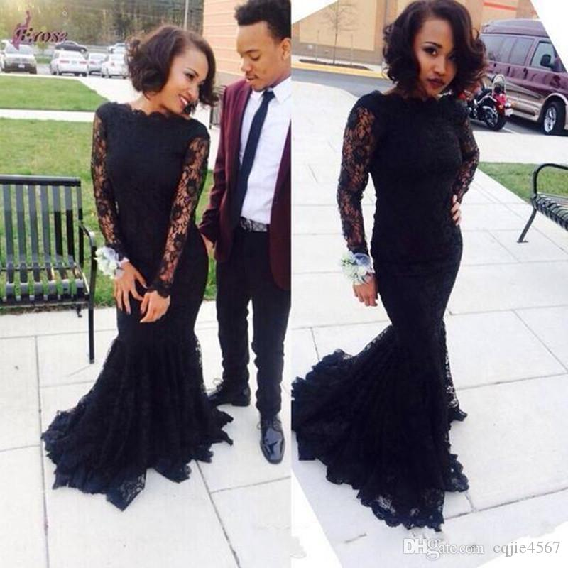 2020 New Custom Made Boat Neck Long Sleeve Mermaid Prom Dresses Sexy Black Lace Evening Party Gowns Cheap Fitted Plus Size Style