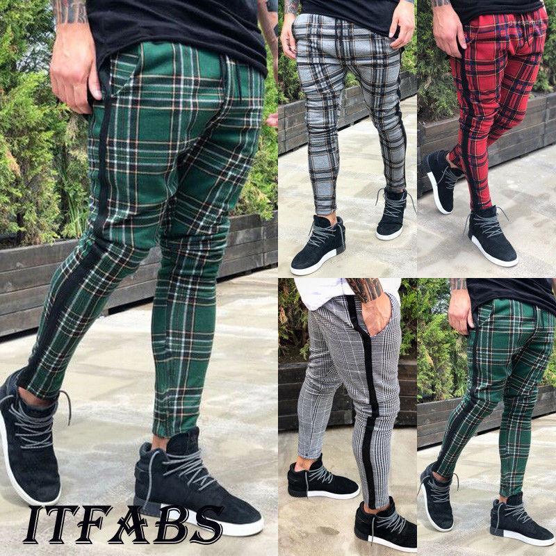 Pantaloni Primavera Autunno matita di modo pantaloni lunghi pantaloni jogging Pantaloni Mens Plaid Designer