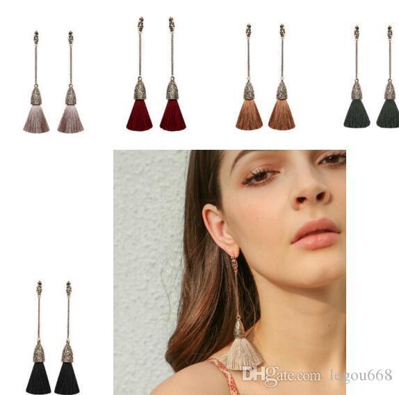 bijoux bohème glands européens et américains à long style national rétro mode Boucles d'oreilles eardrop 12pairs / lot W863