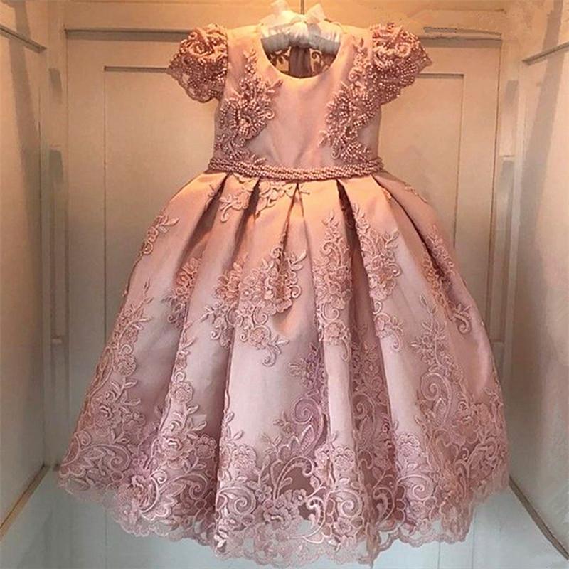 Новый цветок девочки платья Blush Pink Первое причастие платья для девочек бальное Облако бисера Pageant платья Платье De