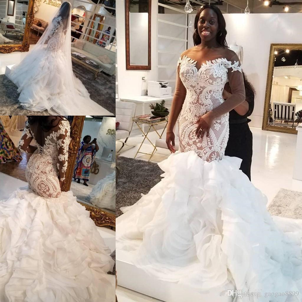 Платье 2020 Элегантный Иллюзия с длинным рукавом African Русалка Свадебные платья плюс размер кружева оборками многоуровневого собор Поезд Труба Невеста Свадьба
