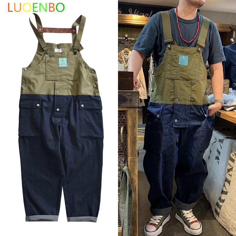 2020 New Contrast Stitch Bib Overalls Trousers Mens Cargo Work Pants Functional Multiple Pockets Denim Pant Coveralls Men Jeans