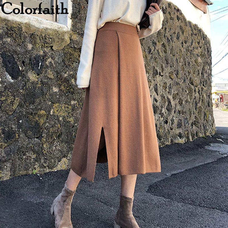 Colorfaith 2019 Mulheres Outono Inverno malha Midi Saias Mid-Calf império coreano estilo elegante A-Line Dividir Sólidos saia SK5723