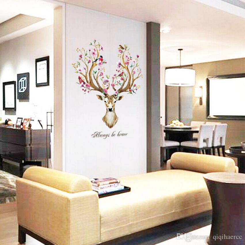 sika deer head flowers wall stickers wall decals kids home decor removable lu