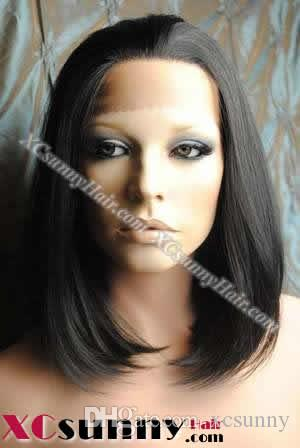 10 Inch Silky Straight #1B Natural Black Glueless Full Lace Wigs 100% Indian Remy Human Hair [GFH026]