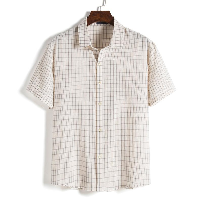 Erkekler Gömlek erkekler Kısa Gömlek Ekose Casual Yaz Kısa Kollu Hip Hop Holiday Beach Eğlence Tops