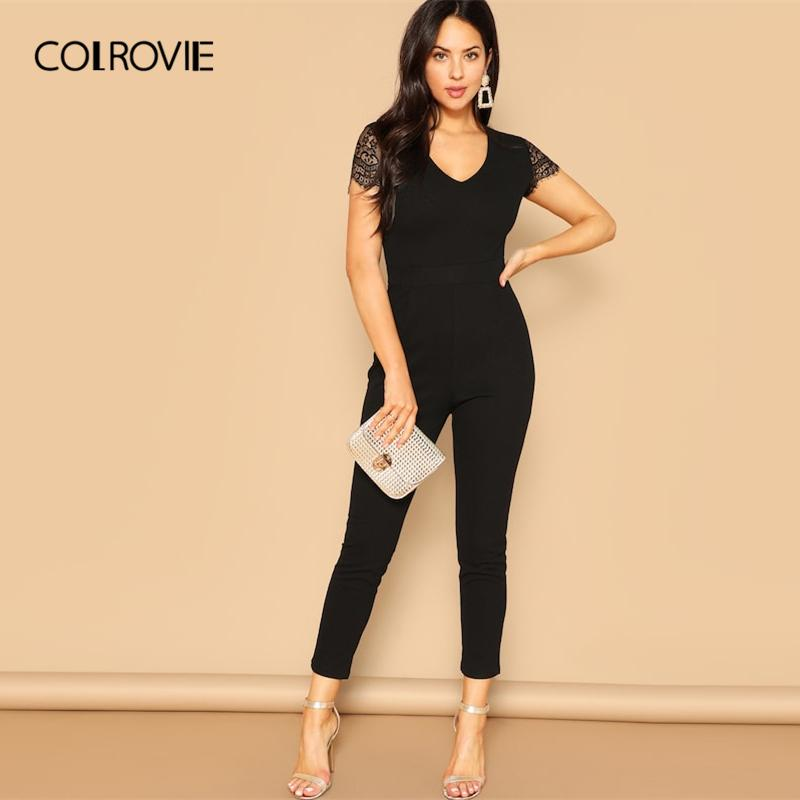 Colrovie Black V Neck Lace Sleeve Zipper Skinny Elegant Jumpsuit Women Clothes 2019 Spring Fashion Sexy Office Ladies Jumpsuits Y19060501