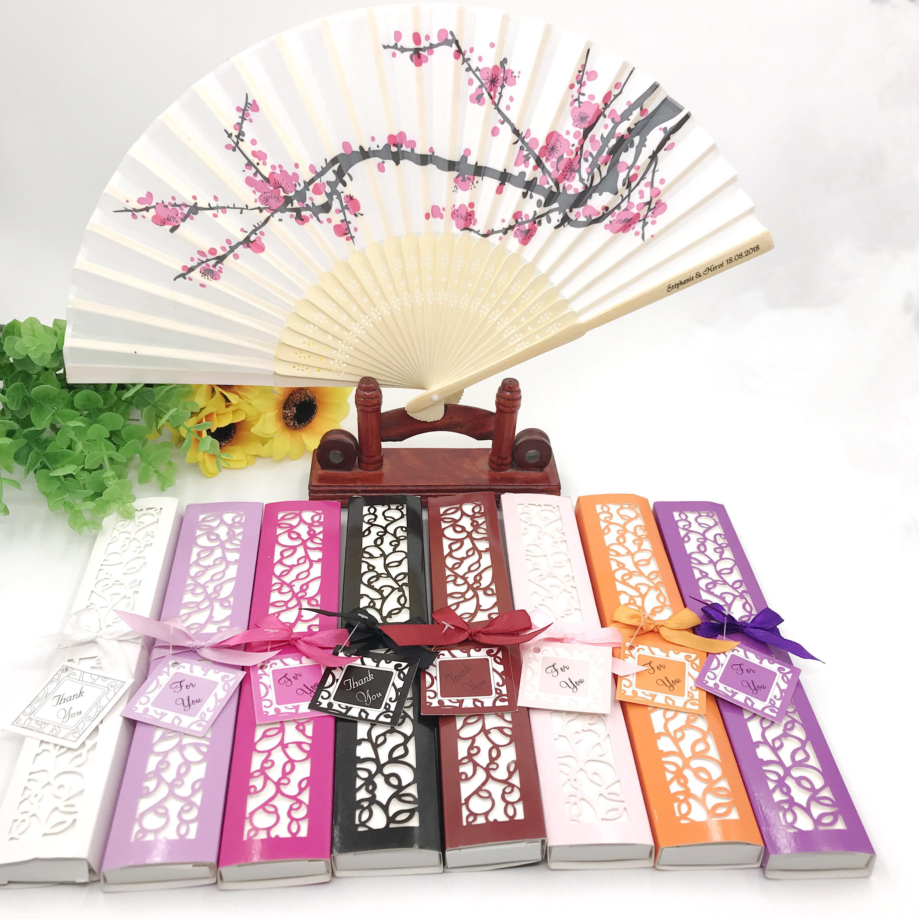 50PCS Custom Printing Bride&Groom's Name&Date Cherry Blossom Wedding Fan in Gift Box Hand-made Sakura Foldable Fans FREE SHIPPING