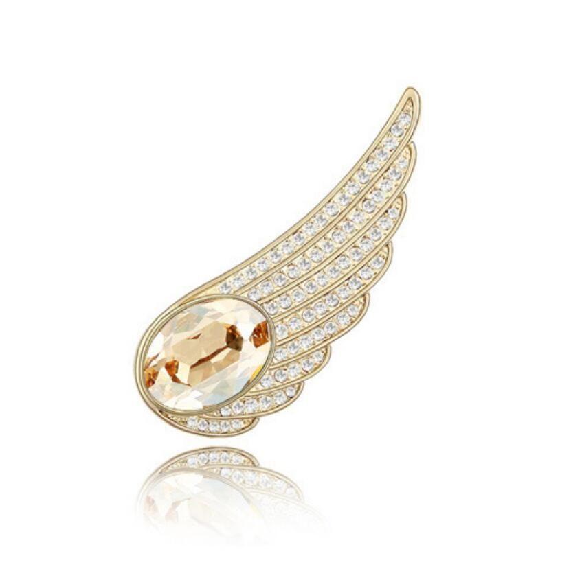 Free shipping fashion jewelry Restoring ancient ways Ornaments Using Swarovski Elemental Crystal Brooch Angel wings High-end OL clothing pin