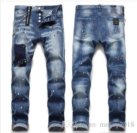 Free shipping Men jeans 2019 spring New Mens paint hole style jeans denim pants Designer slim fit casual jeans Trousers