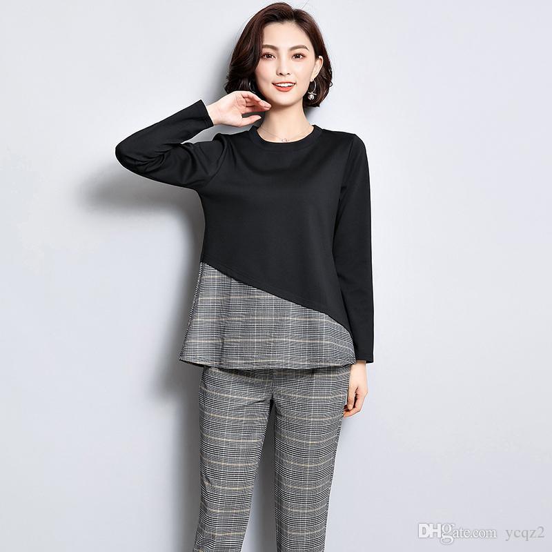 Office 2 piece set women 2018 autumn winter clothes plus size large big 3xl 4xl 5xl black top and pants suits outfits co-ord set