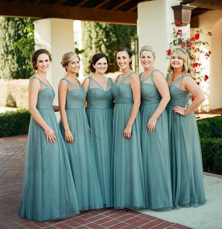 Sheer V Neck Plus Size Vestidos dama de honra baratos comprimento Pavimento Uma linha dama de honra vestido longo festa de casamento Vestidos