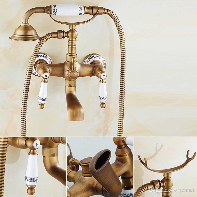 Античная латунная ванна Смесители для душа Набор Двойных ручек Смеситель для душа Настенный комплект для душа для ванны Вращающаяся ванна Излив для душа