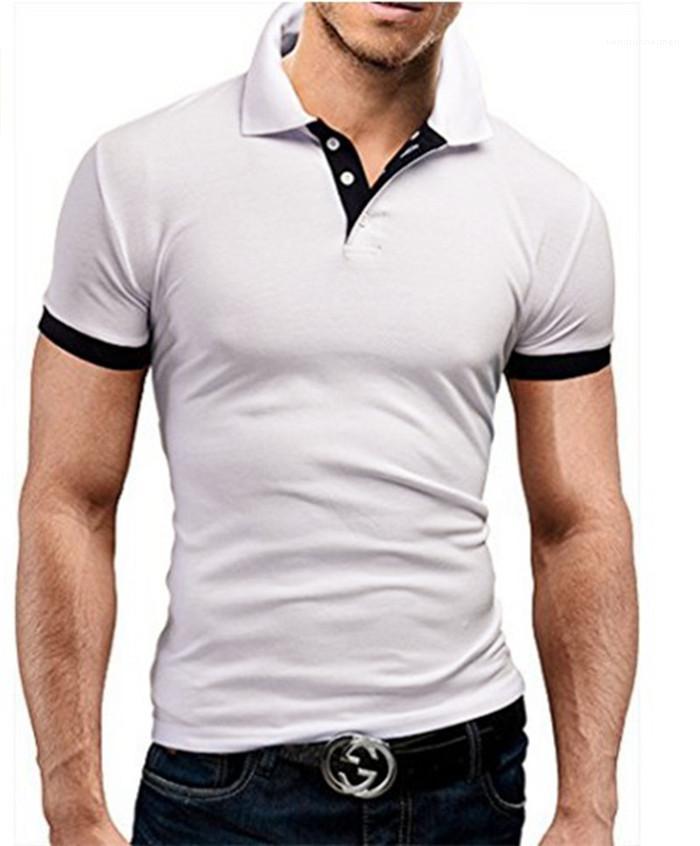 Hommes Polos Skinny Imprimer Lapel Neck Mens Tops avec bouton Mode manches courtes