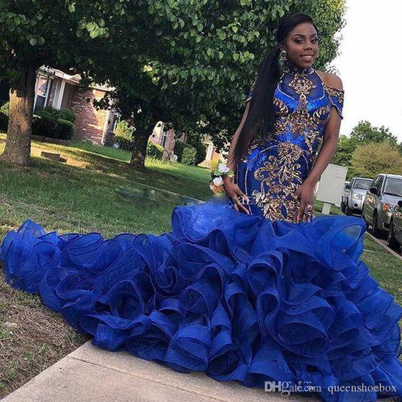 Azul real de las colmenas con gradas de la sirena de los vestidos de noche Faldas de oro Apliques vestido del desfile de África barrer de tren más los vestidos de baile Tamaño