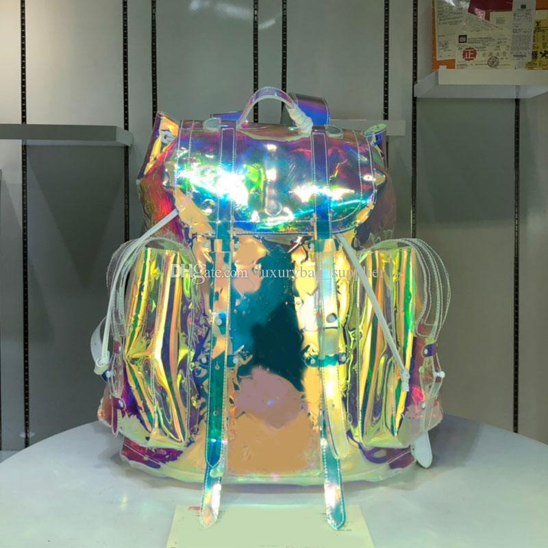 Sac à dos Sacs à main Sacs à main en PVC Mode grand sac à dos coloré Christopher Imprimé PVC Matériau Lettre clair de haute qualité