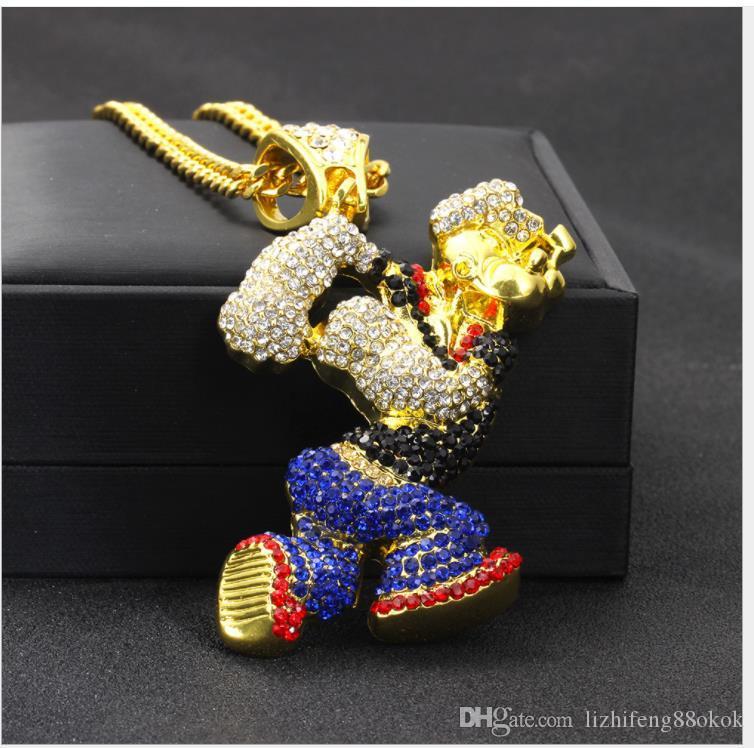 Wih vende un nuevo collar de hip-hop, un dibujo animado de Popeye, un collar colgante.