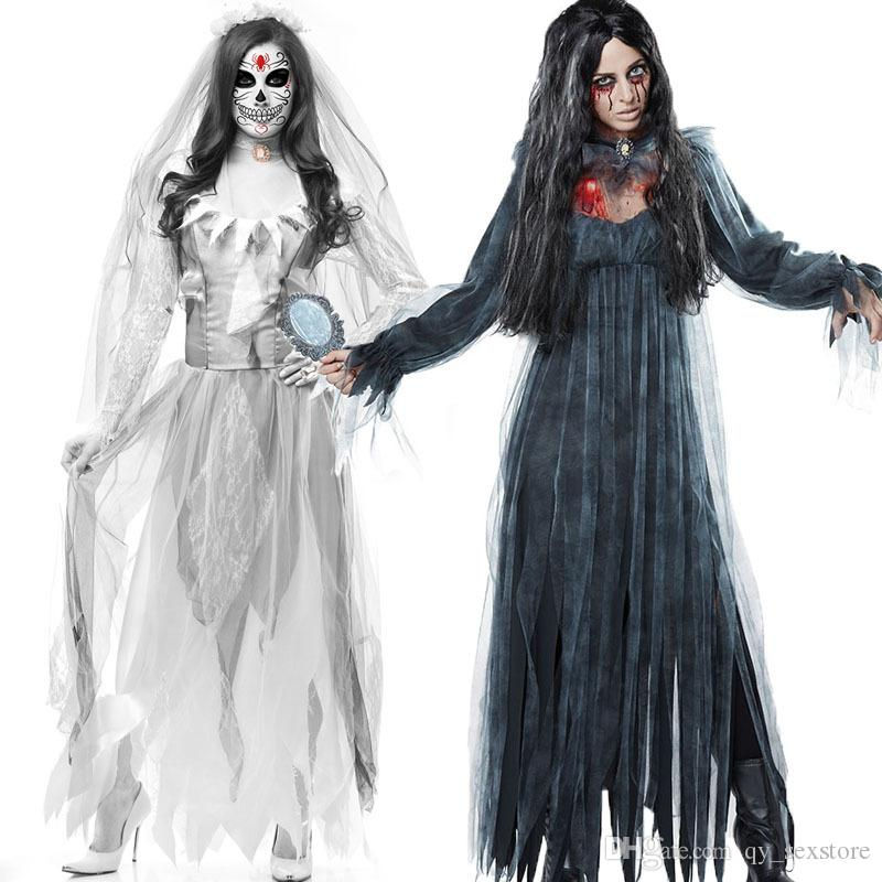 Vampire Zombie Cosplay Nero Fantasma Sposa Costumi Witch Princess Mesh Dress e Head Wear Set Costumi di Halloween per le donne