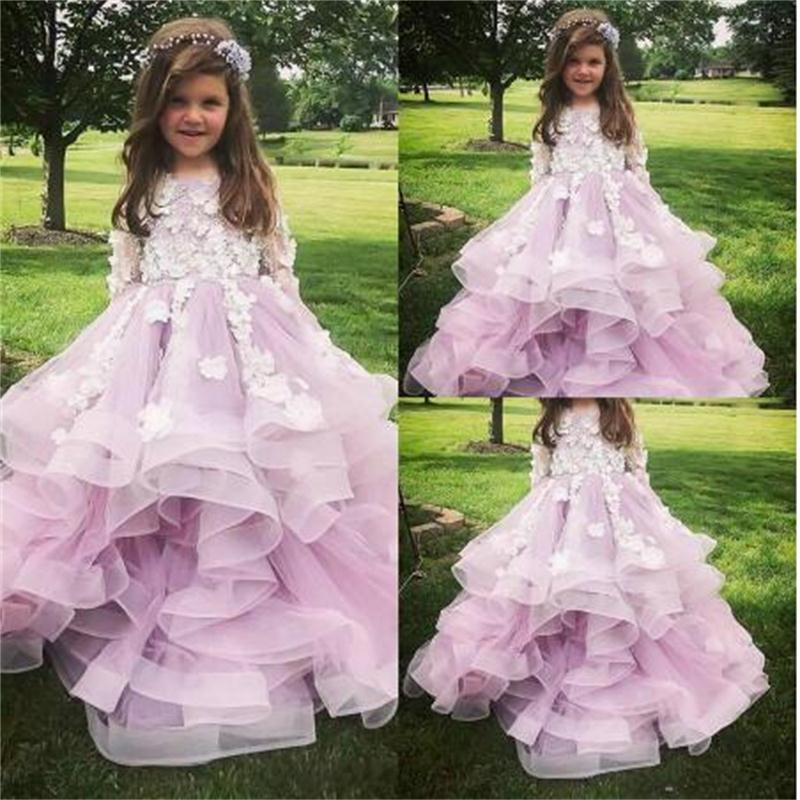 2020 Light Violet Girl Pageant Dresses Jewel Neck 3D Floral Appliqued Long Sleeves Flower Girl Gowns Ruffle Tiered Skirt Birthday Gowns