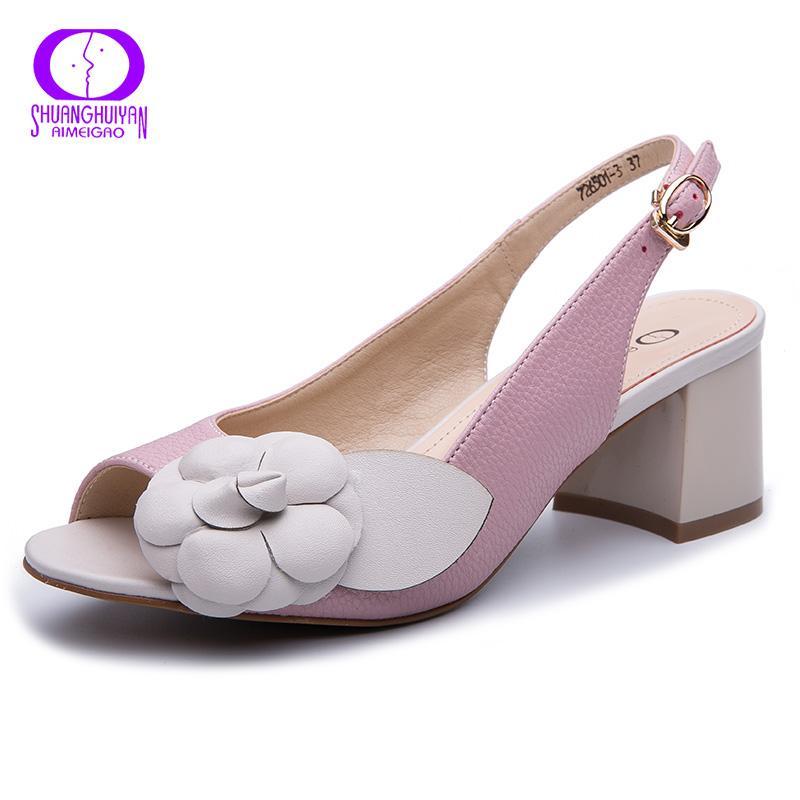 Tacchi AIMEIGAO Fibbia cinghia robusti sandali donne 2019 Summer Flowers Gladiator Sandals Scarpe in pelle Scarpe Donna piattaforma Comfy