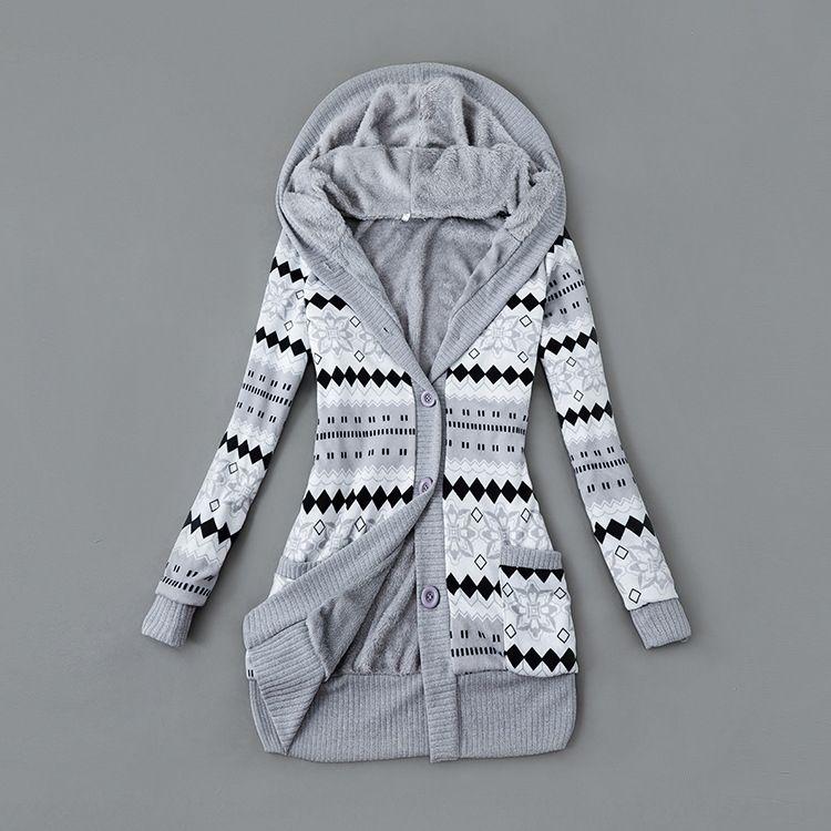 FrniB 2019 automne et en hiver imprimés revêtement à capuchon mi-longueur 2019 automne et hiver manteau imprimé doublure capuche manteau pull pull à mi-lengt