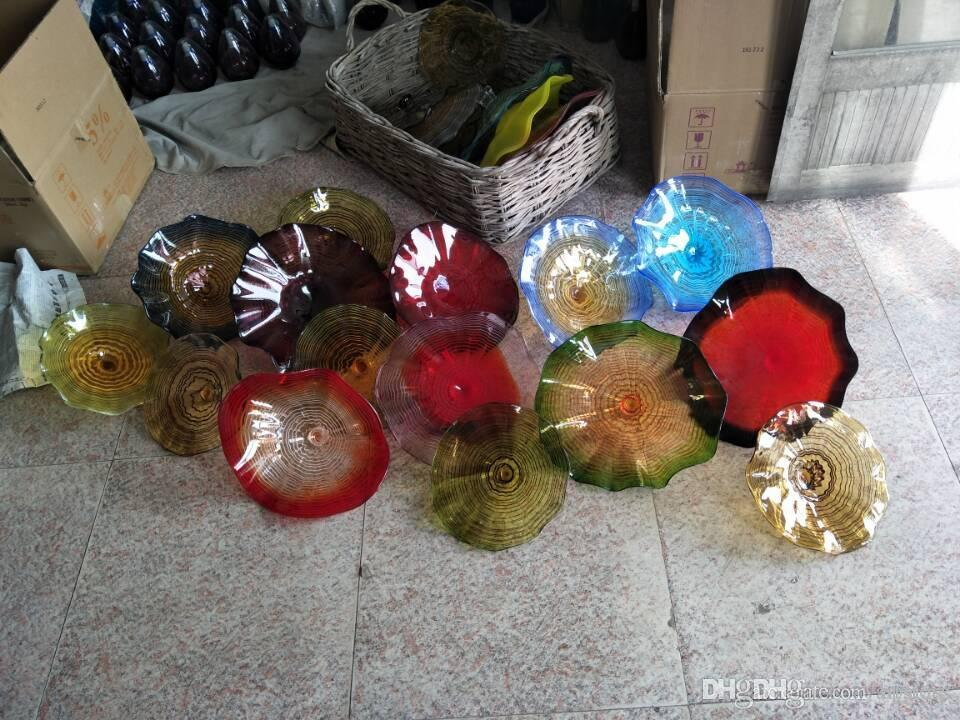 100% a mano in vetro di Murano soffiato Piastre arte appesa parete di stile vetro borosilicato soffiato a mano moderno Arte Piastre multi colore Vetro Fiore