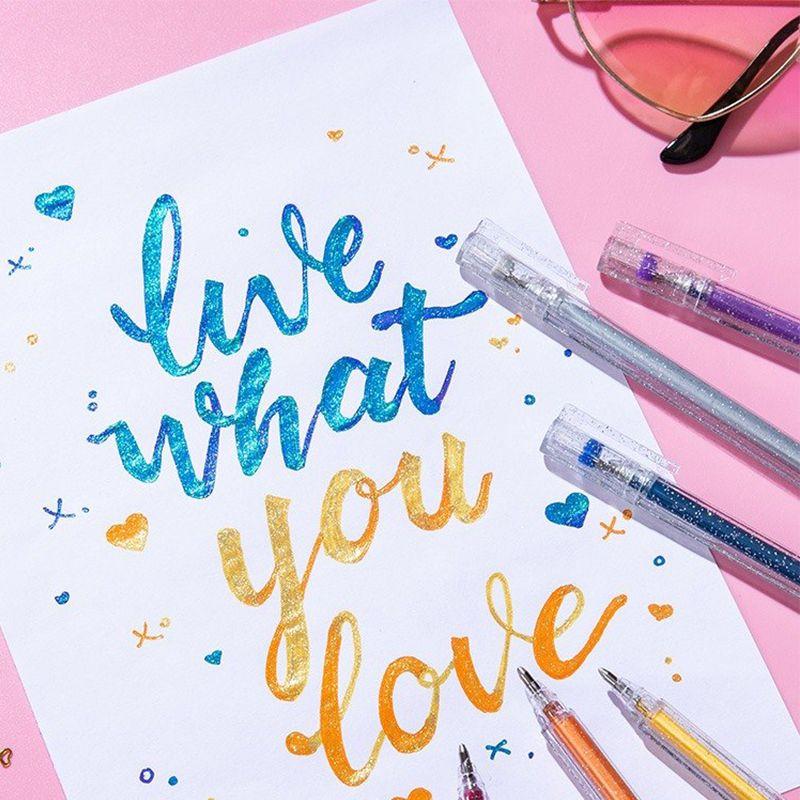 Venta caliente 1.0mm Flash Gel Pen Kid's DIY Draw Paint Glitter Pen Kawaii Highlighter Marker Pens Novedad Pens Office School Supplies
