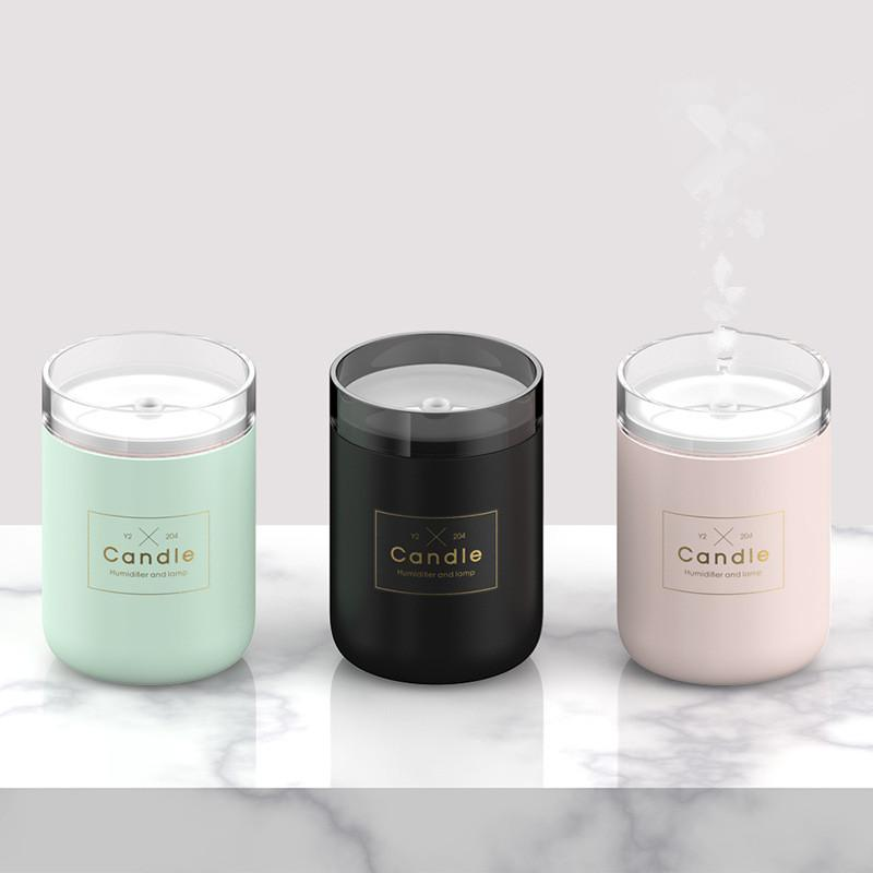 280ML Candle Humidifier Ultrasonic Air Humidifier Soft Light USB Essential Oil Diffuser Car Purifier Aroma Anion Mist Maker GGA1877