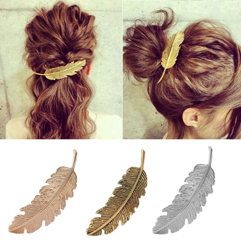1 Pcs Fashion Barrette Color Feather Hair Metal Leaf Shape Hair Clip Barrettes Crystal Pearl Hairpin Styling Tool