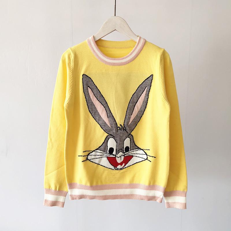 2020 Diseñador principios de la primavera conejo suéter Nueva Jacquard de dibujos animados de cuello redondo que basa Tire Femme de lujo Suéter de punto tamaño S-L
