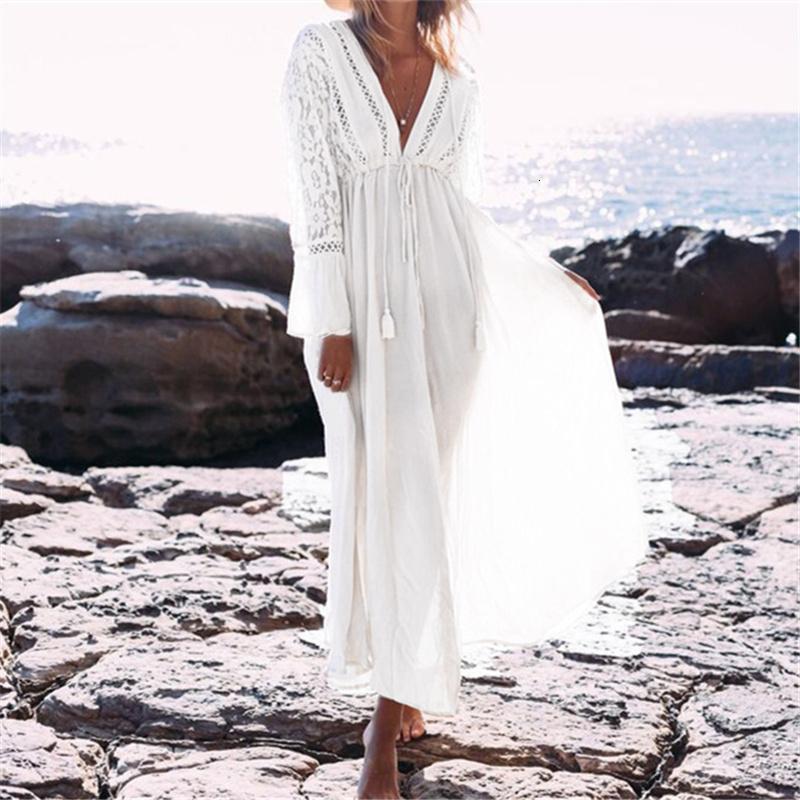 Las mujeres ropa de verano ropa de la mujer V profundo cuello Hollow las mujeres más el tamaño de la playa del verano túnica de algodón atractivos una línea larga vestido Vestidos