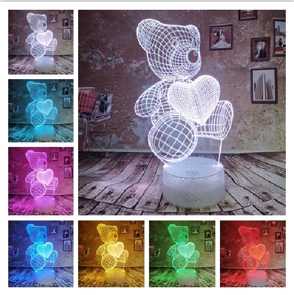 Girls Gifts Cute Cartoon Teddy Love Heart Bear Shape Table lamp USB Touch LED 7 Colors Change Desk Lamp 3D Novelty Night Light Kids Xmas Toy
