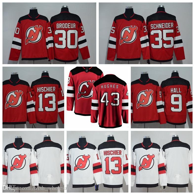 timeless design d95bd d383e 2019 Stitched 2019 New Jersey Devils Jerseys Jack Hughes Jersey Taylor Hall  30 Martin Brodeur 35 Cory Schneider 13 Nico Hischier Hockey Jerseys From ...