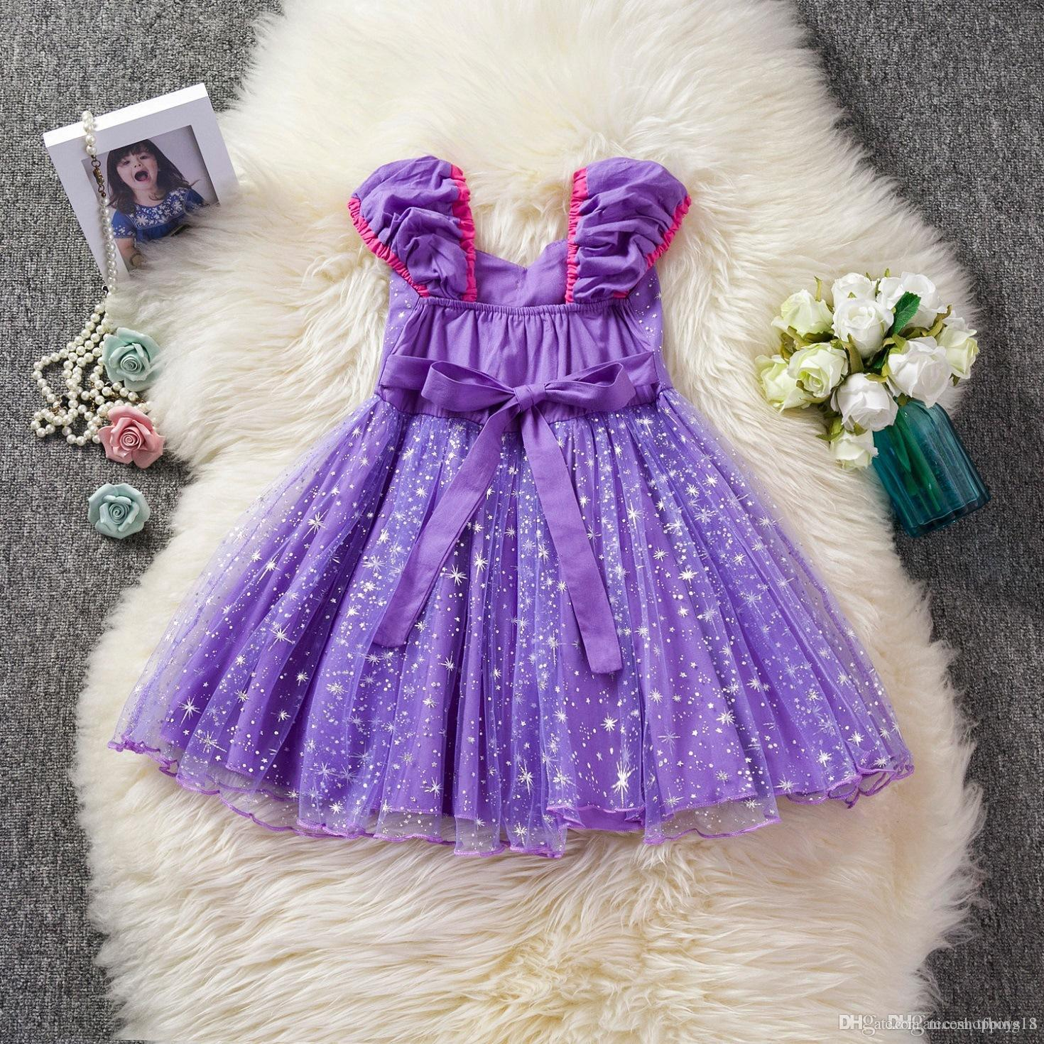 Toddler Baby Outdoor Clothes Set Toddler Baby Girls Clothes Solid Bowknot Plaid Party Princess Dresses 2-7T