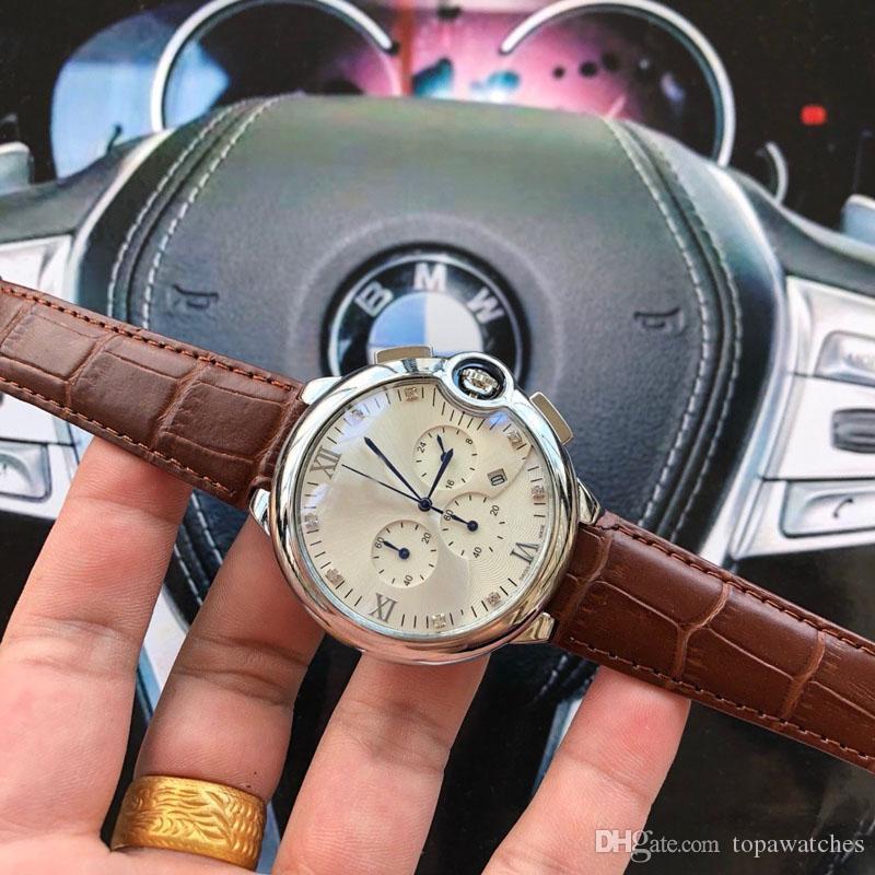 42mm Moda de Luxo Reloj Genuine Leather Designer relógios de pulso Mens 6 quartzo Banda de movimento Novas mãos relógios 2019 com caixa clássica gif gstn