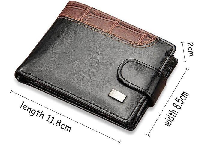 Top Vintage Leder Haspe Kleine Brieftasche Geldbörse Kartenhalter Männer Brieftaschen Geld Cartera Hombre Tasche Männliche Kupplung