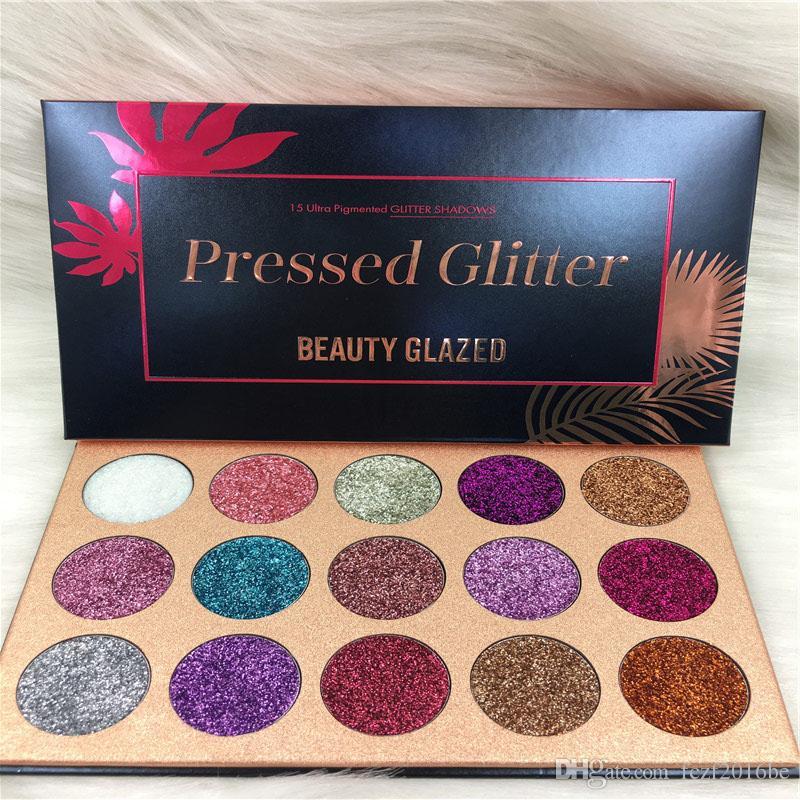 Belleza esmaltadas Glitter Inyecciones Presionado brillos de sombra de ojos de diamante del arco iris compone la caja cosmética 15 colores de sombra de ojos paleta imán de DHL