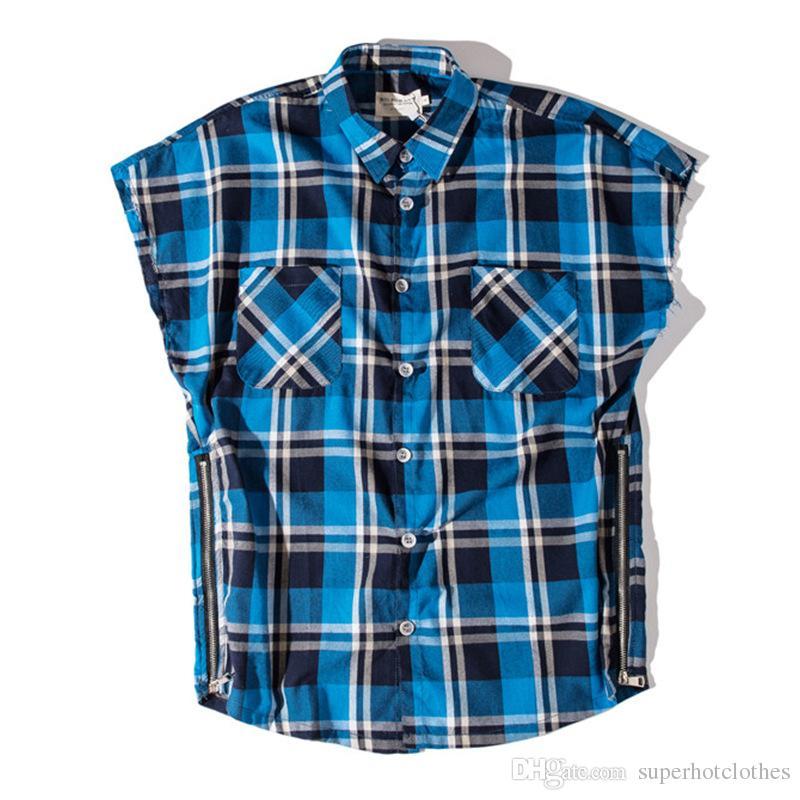 2019 new men's popular logo hip-hop check shirt vintage cotton zipper vest men's shirt men