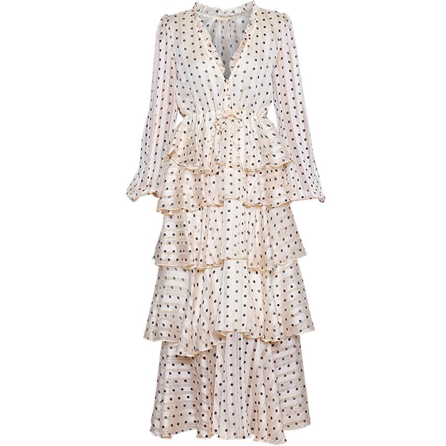 Оптовая V-образным вырезом Роскошная Золотая линия Dot Каскадные рябить платья макси Весна женский фонарь рукавом Элегантный торт платье