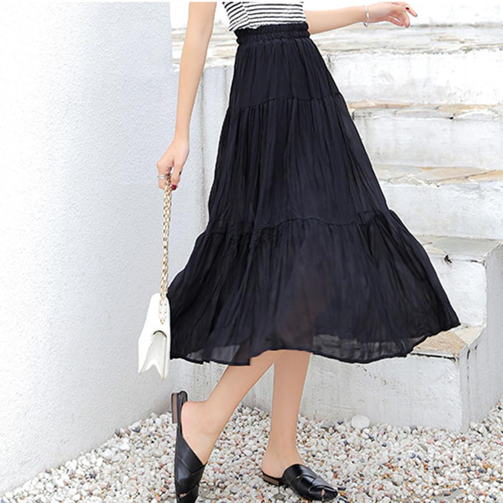 Summer Skirts Women Skirts 2019 Korean Elegant High Waist Solid Color Chiffon Pleated Retro Long Maxi Skirt Elastic Waist Skirt