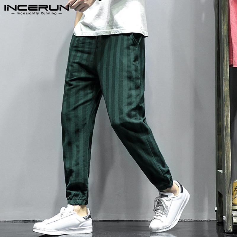 INCERUN хлопок белье мужчин шаровары Полосатый Joggers Streetwear Хип-хоп Шикарные повседневные брюки эластичный пояс Pantalon Hombre 2019