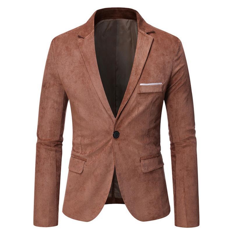 Dünne beiläufige Mantel-Männer beiläufige dünne Sitz-Knopf-Klage-Blazer-Mantel-Jacken Tops Corduroy Blazer Suits