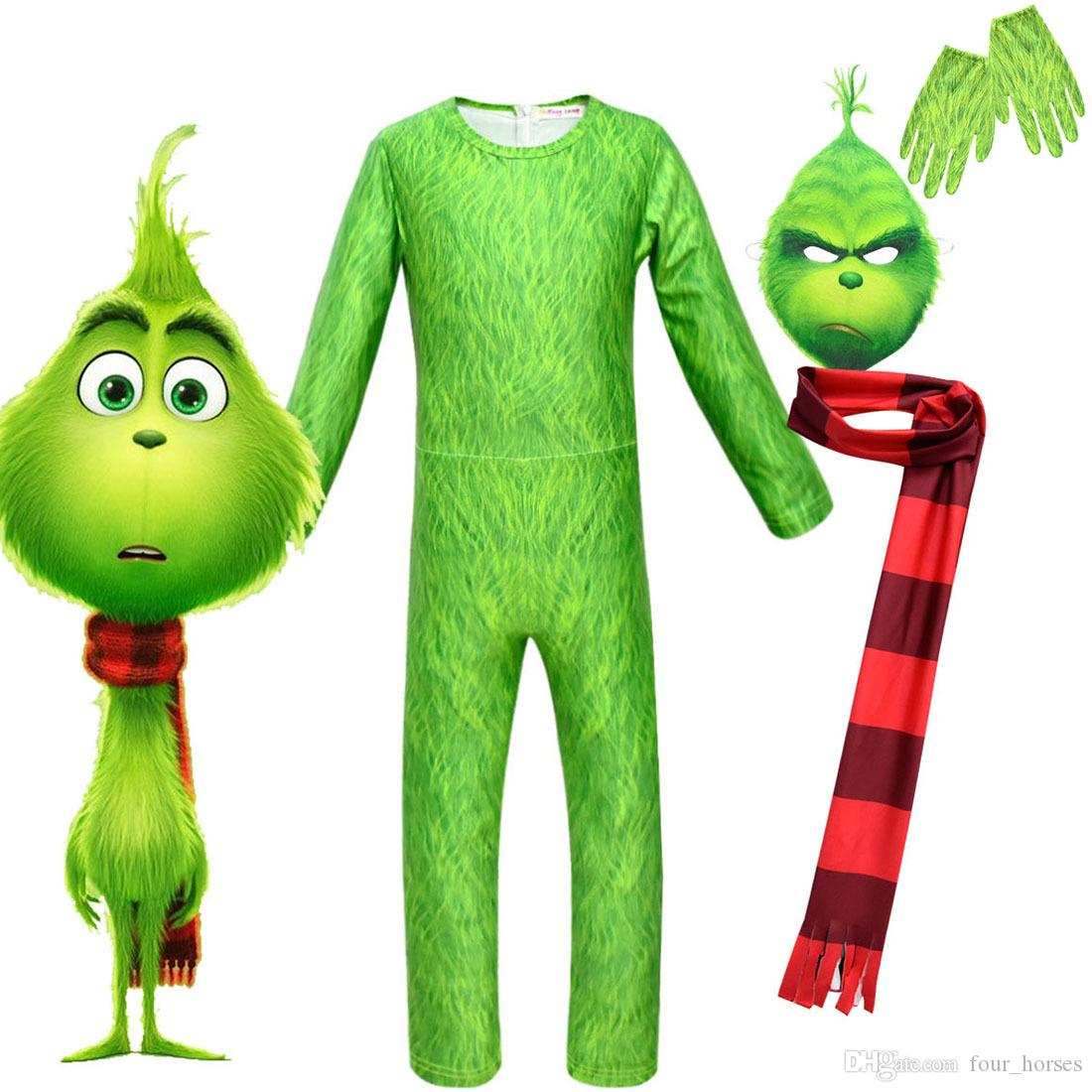 The Grinch Cosplay Costumes How The Grinch Stole Christmas Costume  Christmas Props With Green Hair Kids Jumpsuits Mask Scarf Dress Themes For  Parties