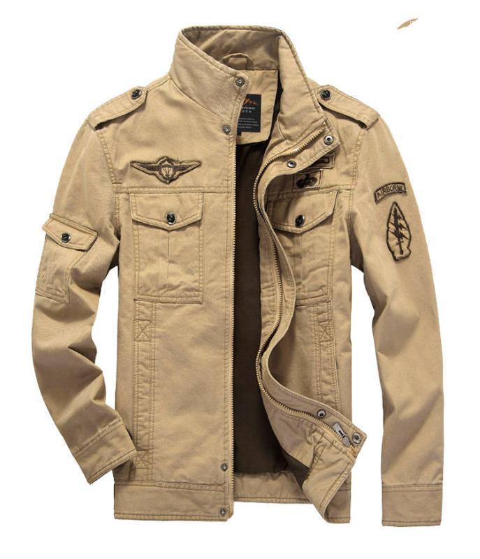 Kargo ceketler Katı Kasetli Fermuar Fly Coats Standı Yaka Uzun kollu Pamuk Ceket Erkek Giyim Erkek İlkbahar Sonbahar