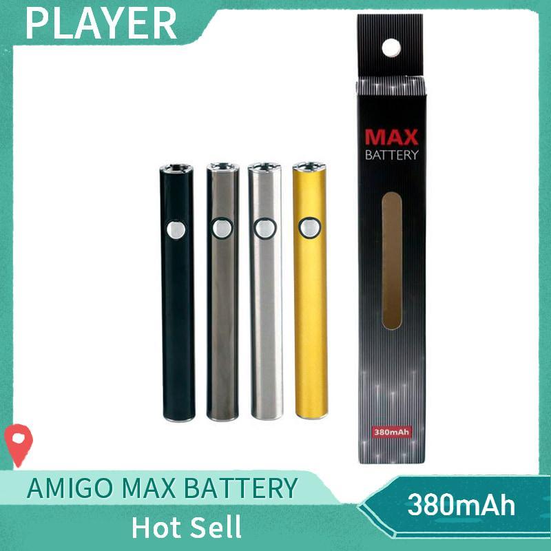 Batería de precalentamiento original de Amigo Max 380 mAh Voltaje variable VV Carga inferior Batería 510 para Liberty V9 Thick Oil Cartridge Tank Authentic