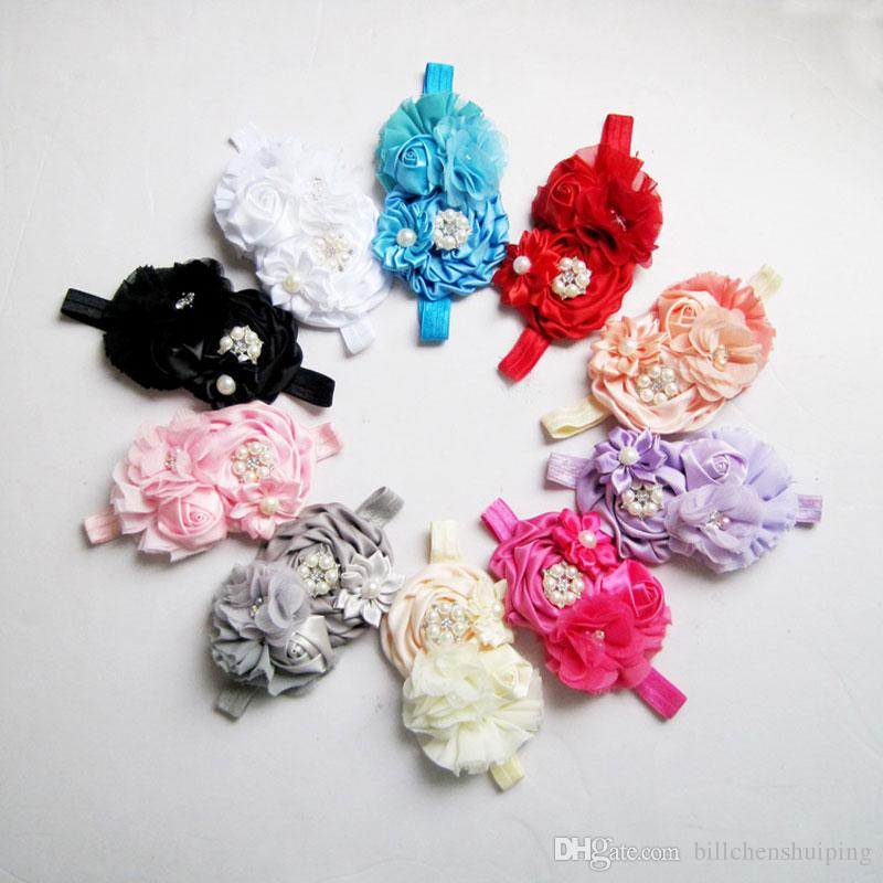 Free shipping Baby Girls Pearl Rose Flower Headbands Kids Grosgrain Bowknot Hairbands Children photograph Hair Accessories