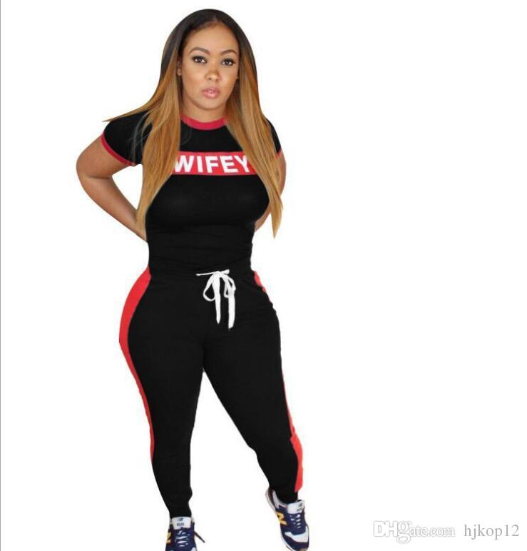 2019 New Casual Womens 2 Piece Set WIFEY Letter Short Sleeve Tops T Shirts and Skinny Pants Women Set Women's Tracksuits @212
