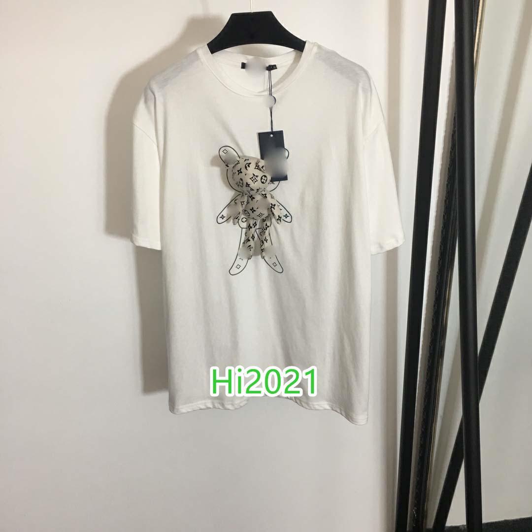 Kadınlara yönelik kız gündelik pamuklu tişört kukla monogram mektup yazdırma yaka kısa kollu kazak 2020 moda tasarımı gevşek tişört üstleri