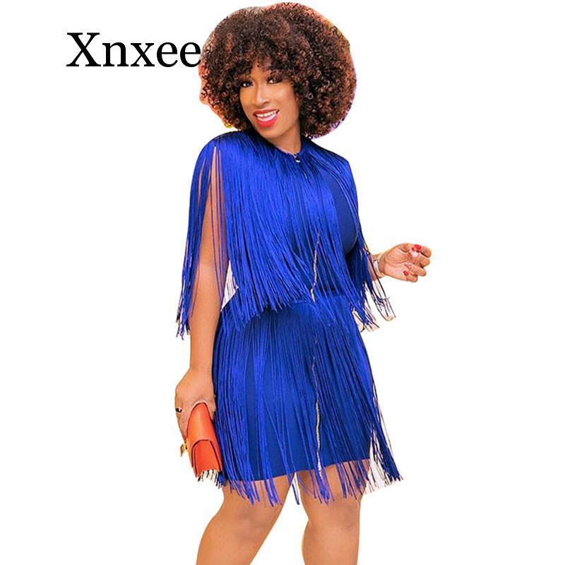 azul BodyCon borla vestido sin mangas de la cremallera de las mujeres vestidos de partido de la celebridad elegante franja de la borla Mini Club vestido Vestidos