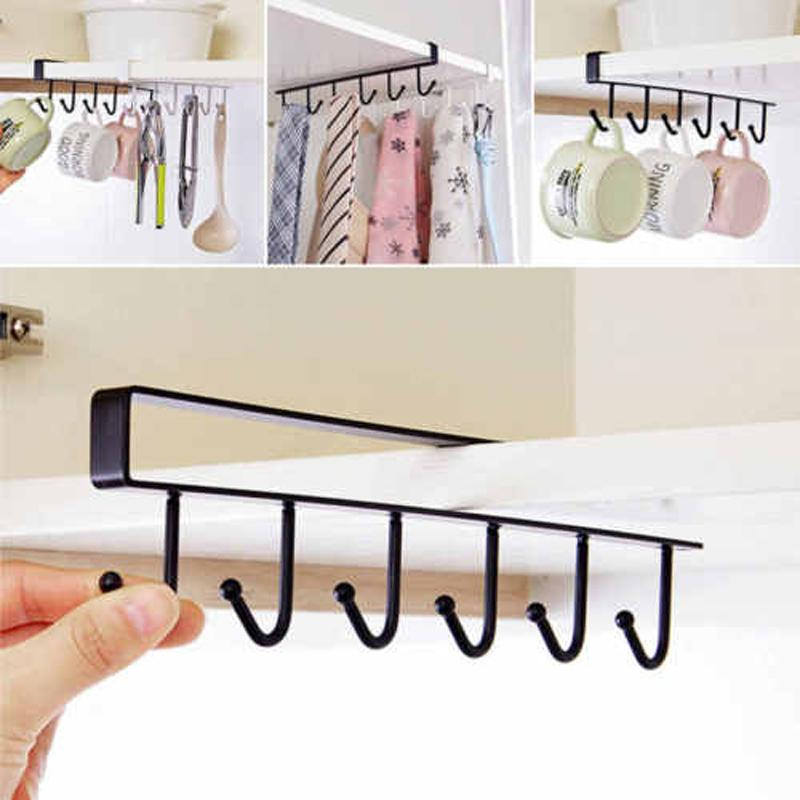 Multifuctional Traceless Nail Free Metal 6 Hooks Cup Holder Hang Kitchen Cabinet Under Shelf Storage Rack Organizer Hook